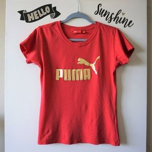 Puma Classic Red & Gold Graphic Logo T-Shirt S